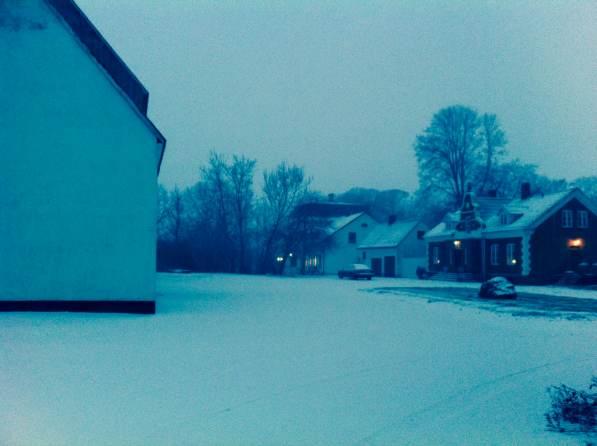 Snow falling in Billeberga