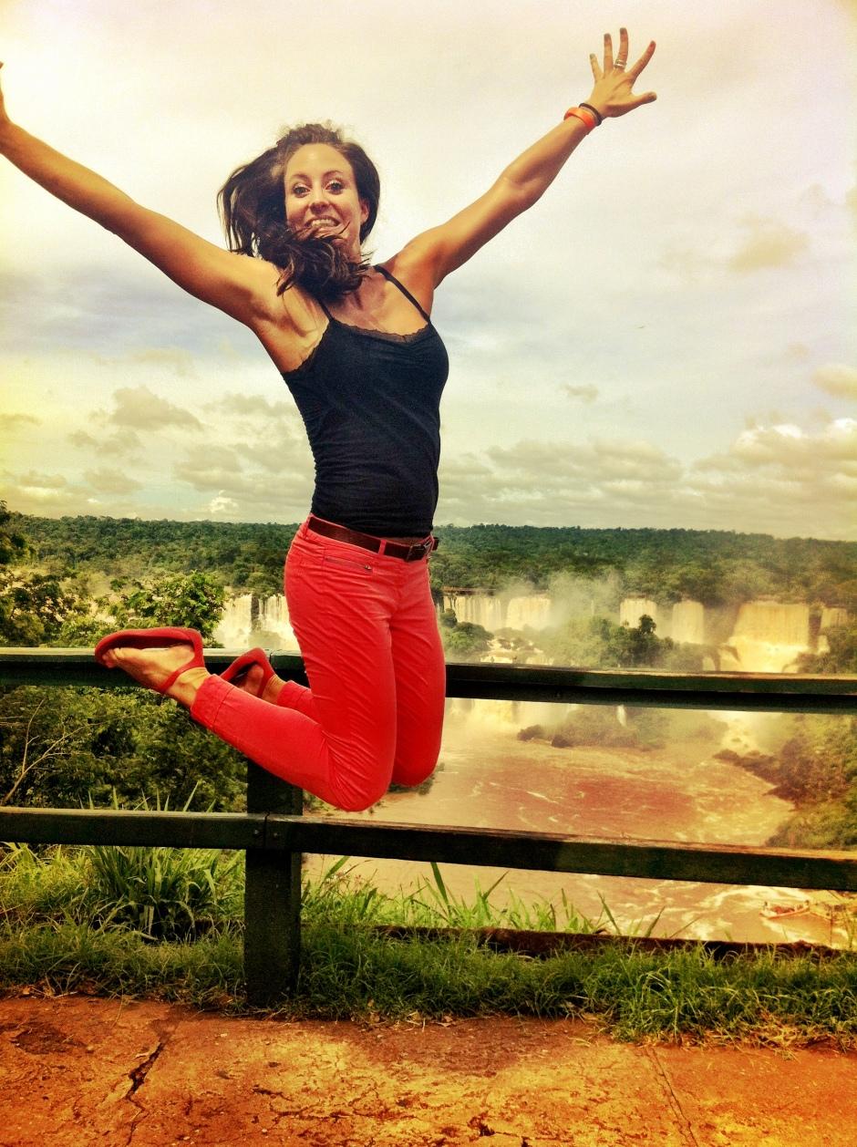Jumping for joy in Iguazu Falls on the Brazillian side