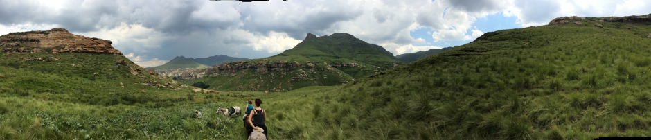 Horse-riding near the Lesotho mountains