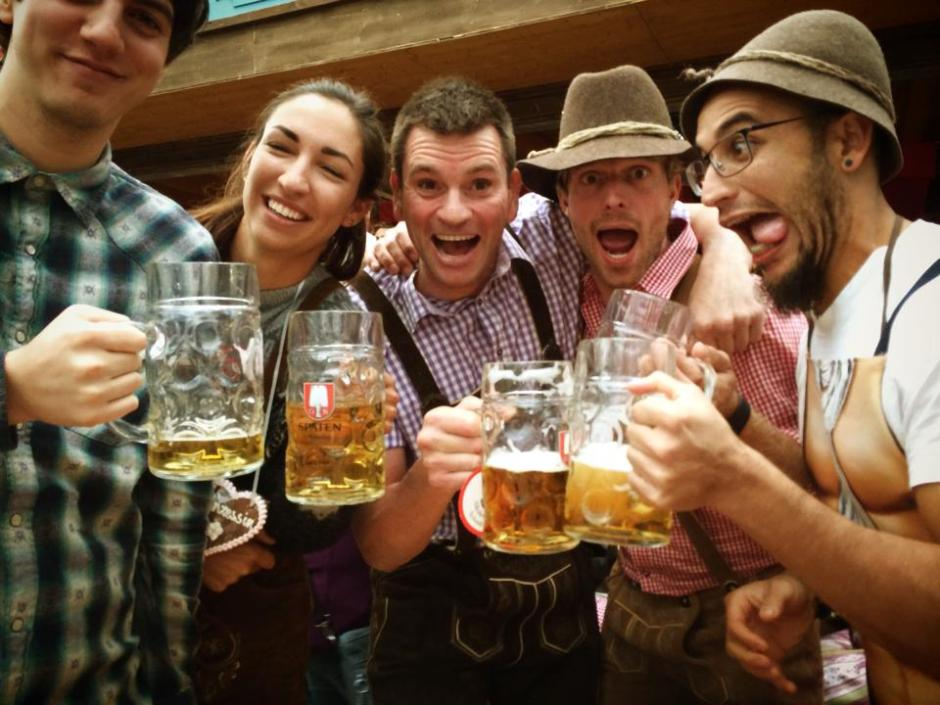 Shevy (centre) organises off-beat Oktoberfest and ski tours with his company Alpenrider