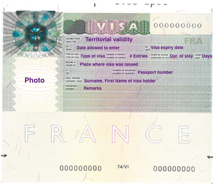 What a French Schengen Visa looks like in your passport. Adapted from: http://bit.ly/1DEQSRl